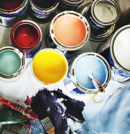 Closeup of house painting renovation